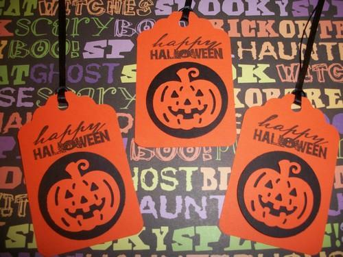 Happy Halloween 3D pumpkin Cutout Hang Tags / 10ct / sale