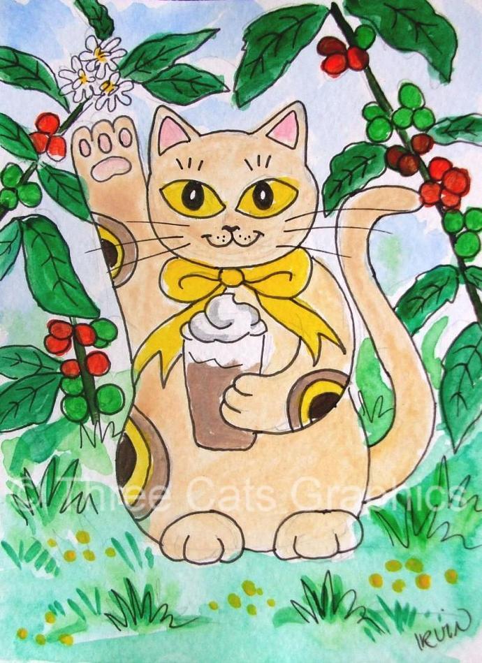 Maneki Neko Lucky Kitty Cat with Iced Latte 5 x 7 Art Print with Matching Note