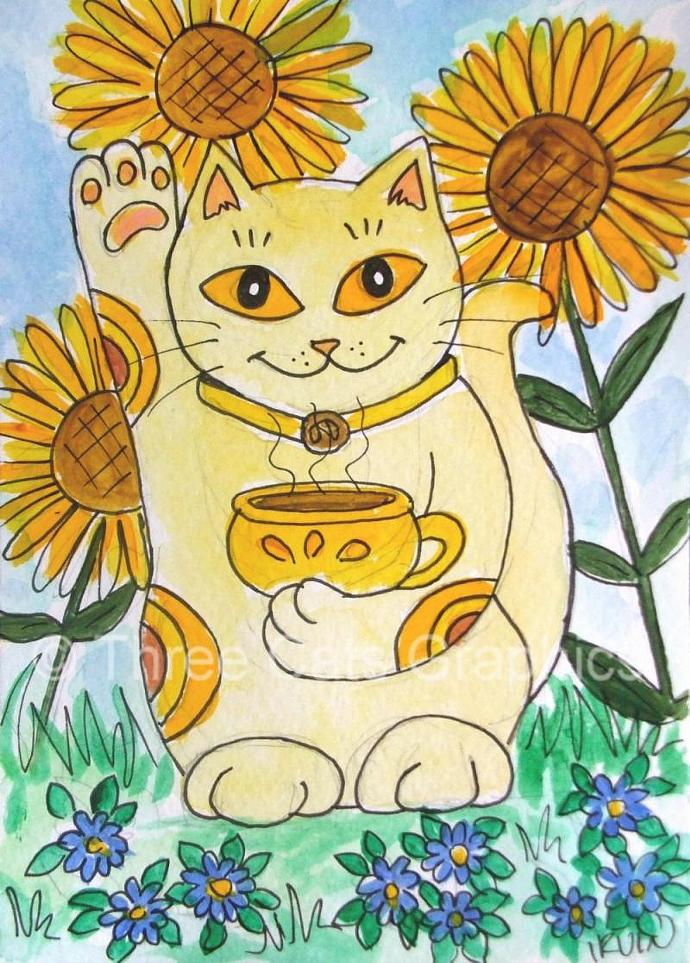Maneki Neko Lucky Coffee Kitty Cat with Cup of Mocha Coffee 5 x 7 Art Print with