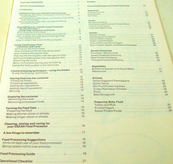 Sunbeam Oskar Instruction Owner's Manual Recipe Booklet food processor 14081