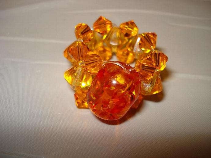 Orange Sparkle Bead Ring