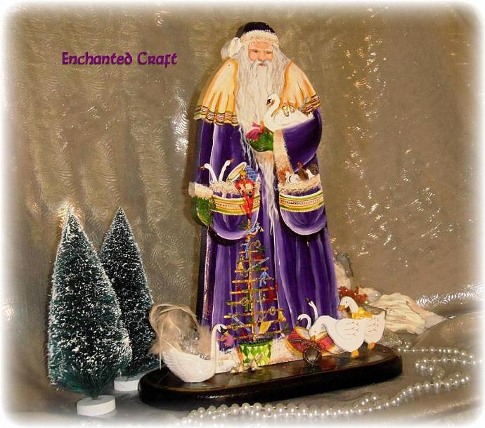 12 Day Delivery Santa Claus- wood 15 inches tall- featuring The Twelve Days of