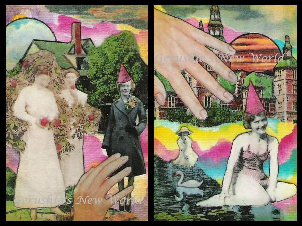 Amelia ~ ACEO Watercolor Collage Print Set
