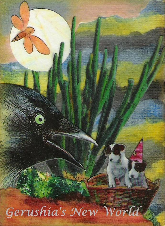 A Fateful Meeting ~ ACEO Watercolor Collage Print
