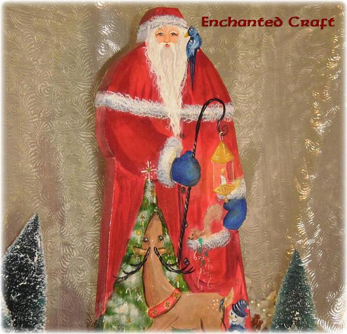 Forest Friends Santa Claus- detailed handpainted wood figure stands 15 inches
