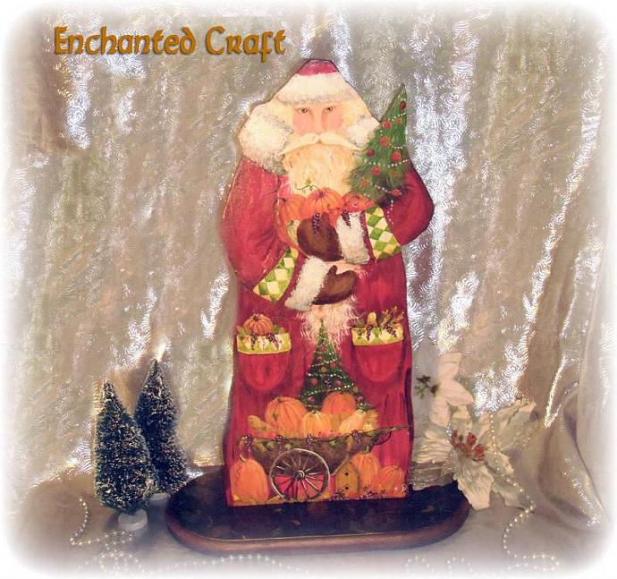 Handpainted wooden 'Bountiful Santa Claus' Figure stands 22 inches tall