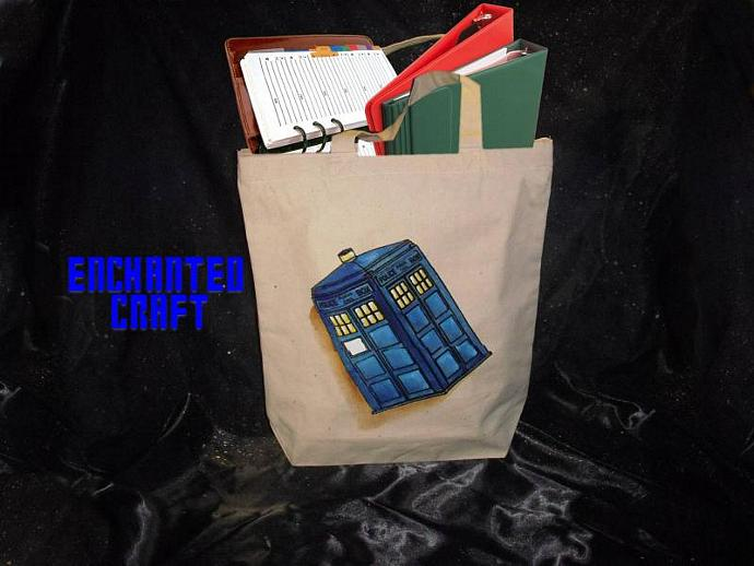 hand painted DR WHO TARDIS tote, bag, or shopping bag- get your name on it