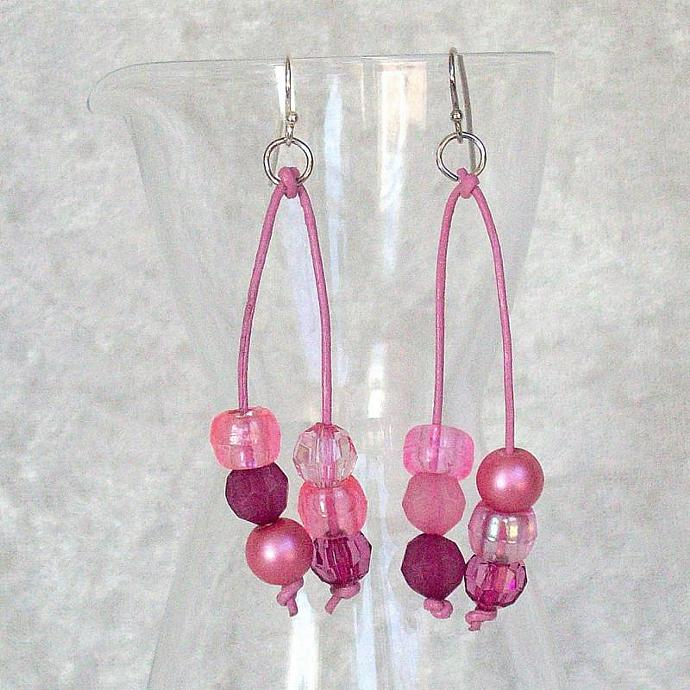 Beaded Dangle Earrings, tonal pinks