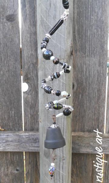 Black & White Beaded Spring Bell Chime