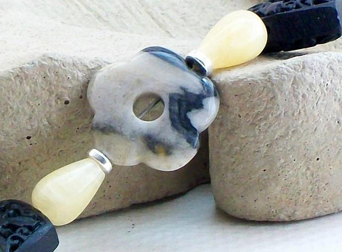 Black Cinnabar & Aragonite Bracelet