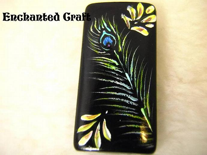 magnet- Peacock Feather hand painted bamboo tile