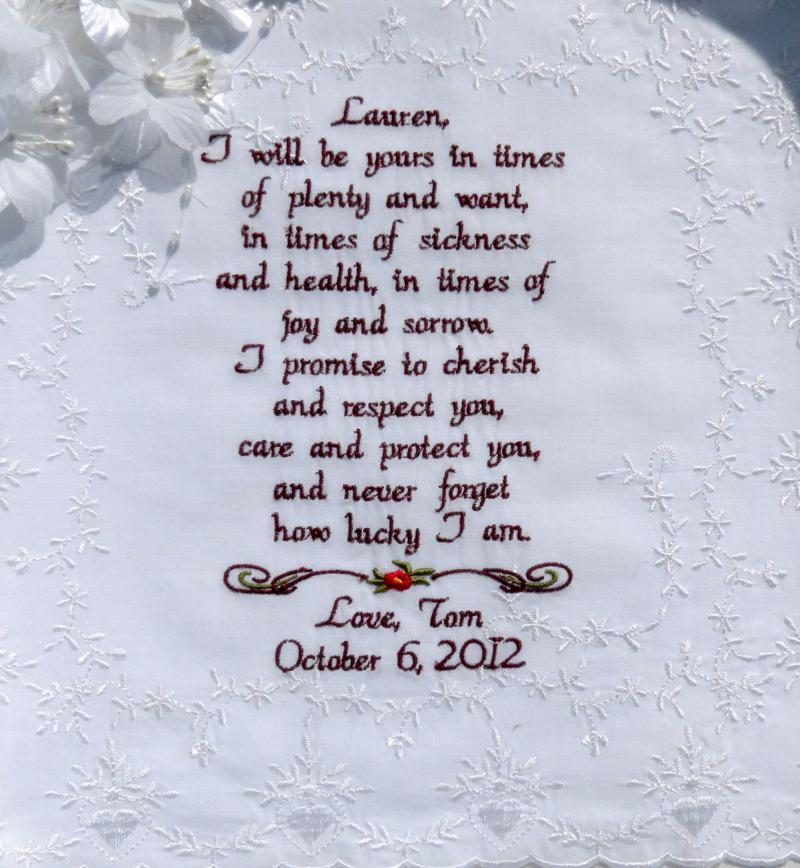 Handkerchief wedding vow gift for your canyonembroidery junglespirit Images