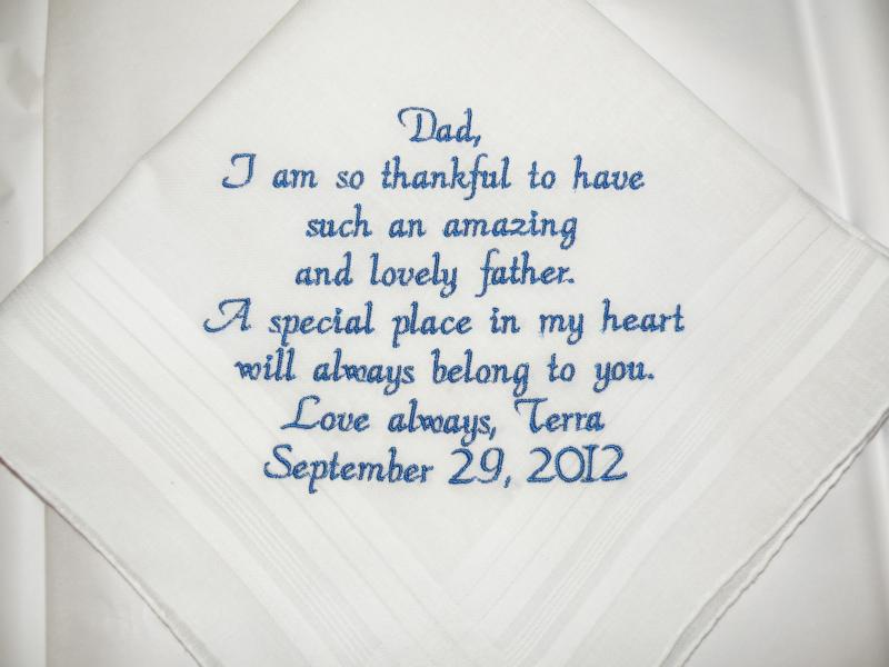 Bride Gift Father Of The Sayings: Father Of The Bride Wedding Handkerchief By