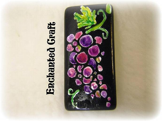 magnet- Wine Lover's Grapes hand painted bamboo tile