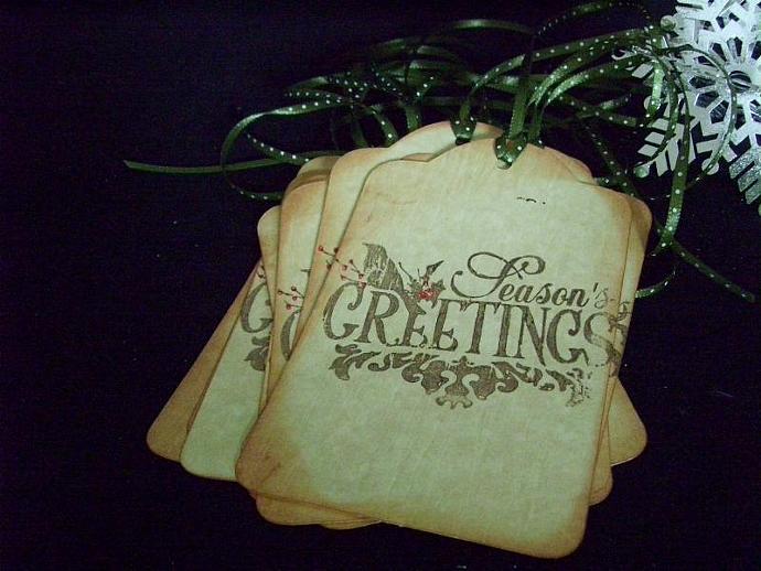 Seasons Greetings Handmade Christmas  Gift Tag Set of Nine