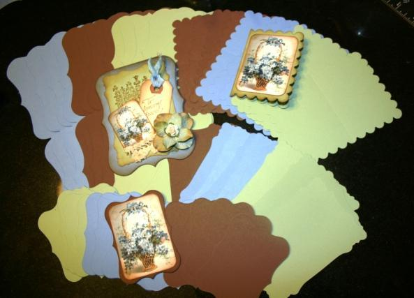 Blue brown and cream cards and mats CM111