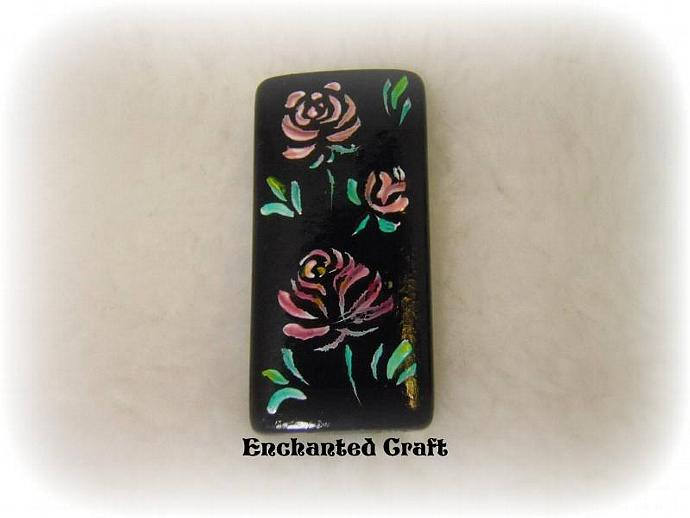 magnet- A Rose by Any Other Name- hand painted bamboo tile