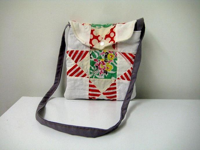 Festival Bag - Red Polka Dots and Stripes - Shoulder Strap - Quilt Block -