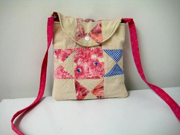 Festival Bag - Pink Flowers - Shoulder Strap - Quilt Block - Patchwork