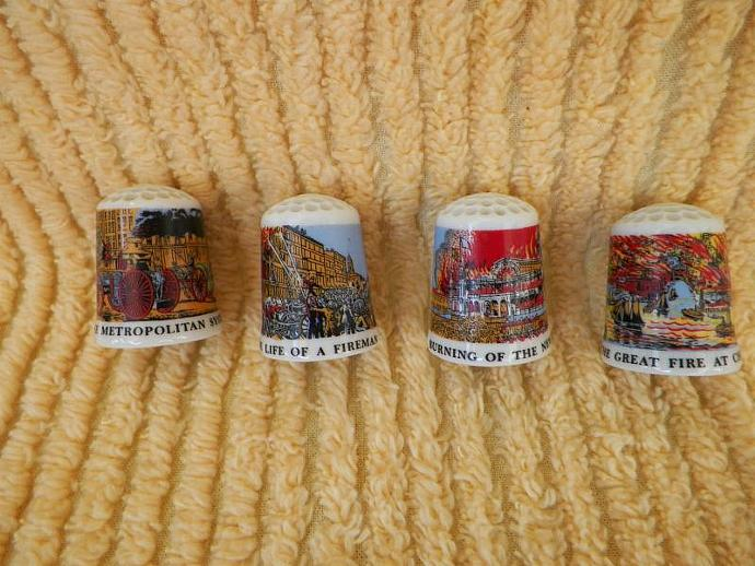 Fireman Thimbles Vintage Set of Four