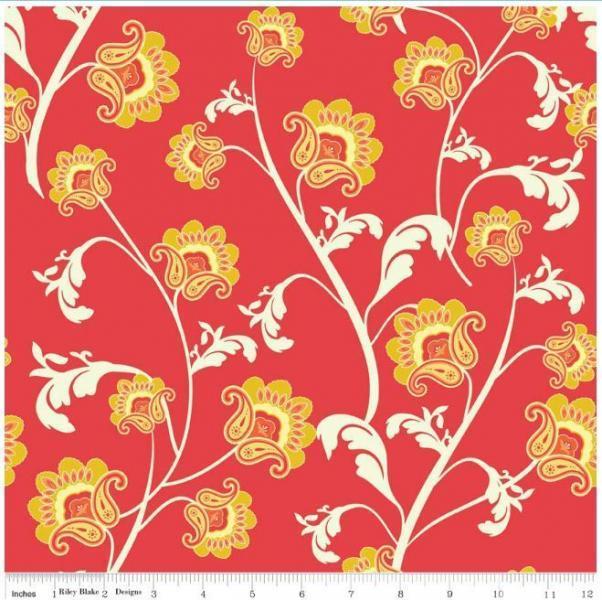 "Riley Blake Designs ""Avignon"" by Emily Taylor.100% cotton Red Vine - 1 yard -"