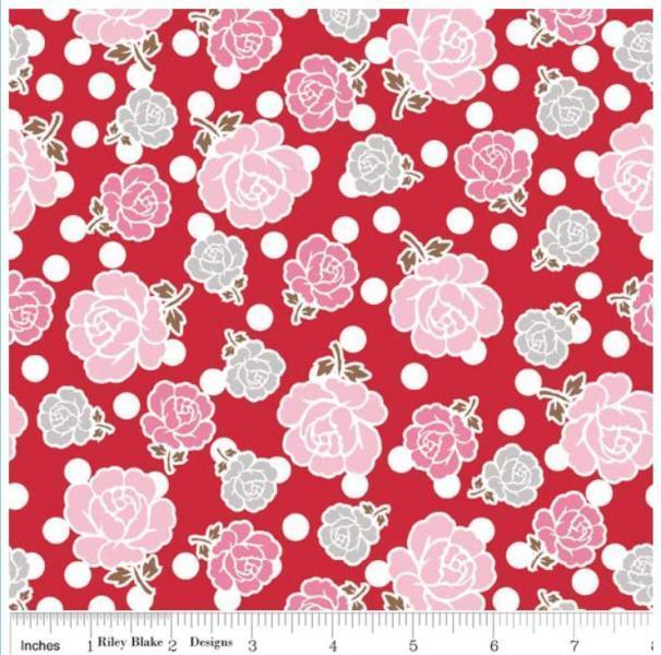 "Riley Blake Designs ""Polka Dot Stitches"" 100% cotton, Red - Main, 1 yard  -"