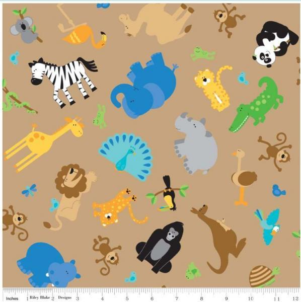 "Riley Blake Designs ""Zoofari"" by Doodlebug Design. 100% cotton, Brown 1 yard  -"