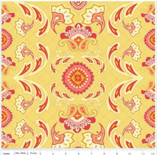 "Riley Blake Designs ""Avignon"" by Emily Taylor.100% cotton Yellow-Main 1/2 yard -"