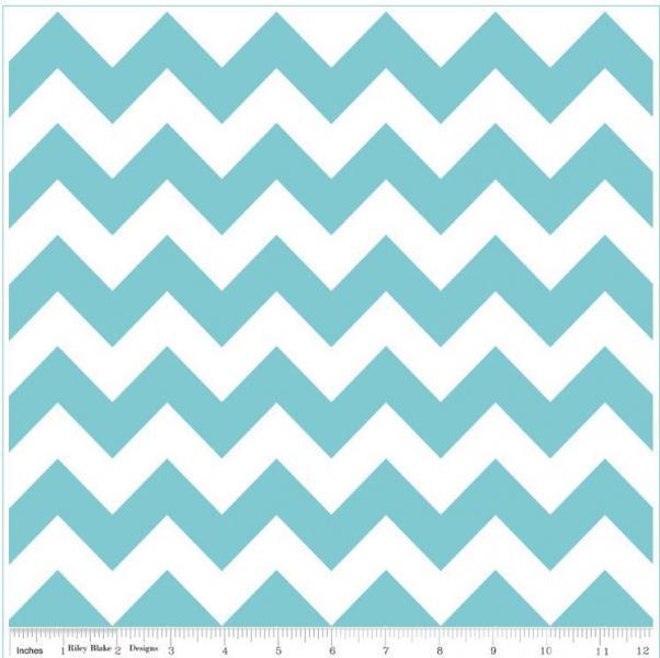 "Riley Blake Designs ""Chevron"" by Riley Blake Designs. Aqua. 100% cotton, 1/2"