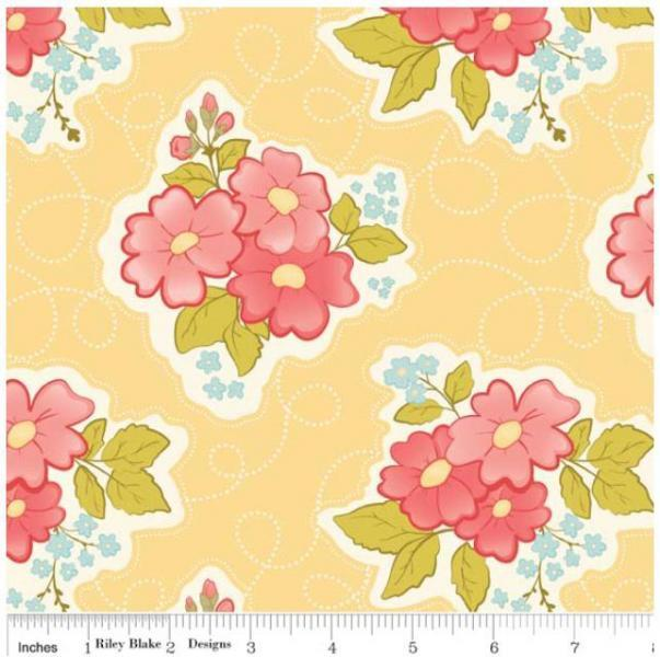 "Riley Blake Designs ""Marguerite"" by C. Walker 100% cotton Yellow-Floral 1/2 yard"