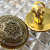 Damascene Clip Back Earrings Vintage Mosaic Buttons