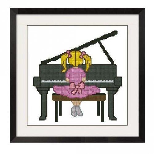 ALL STITCHES - GIRL AT PIANO CROSS STITCH PATTERN .PDF -601