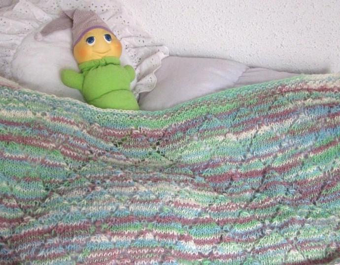 Handknit Receiving Baby Blanket of Homespun Wool for girl or boy