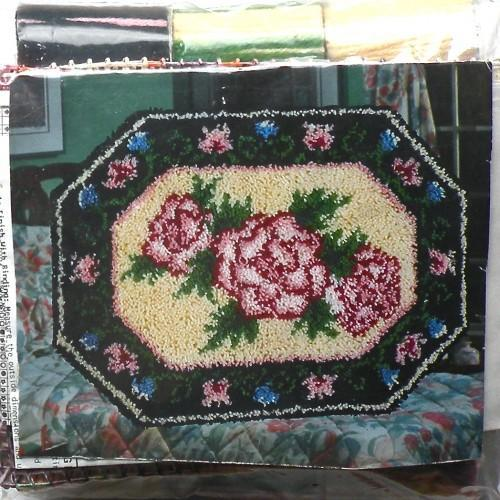 Vintage 70s Floral Hook Rug Kit