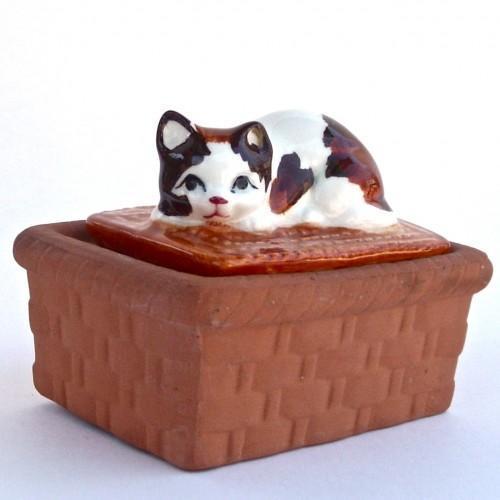 Vintage Trinket Box - 1980s - Calico Cat Terra-cotta Ceramic