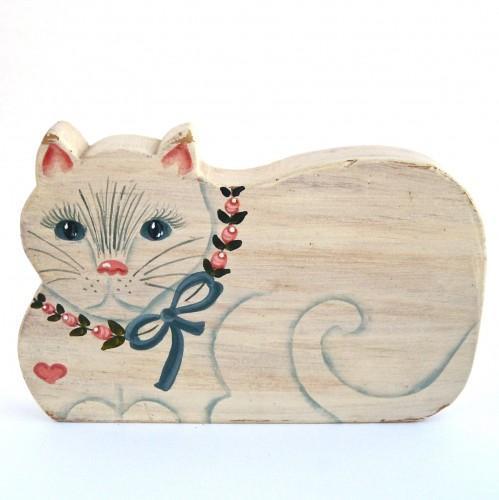 Sweet Heart Folk Art Cat - Vintage 1985
