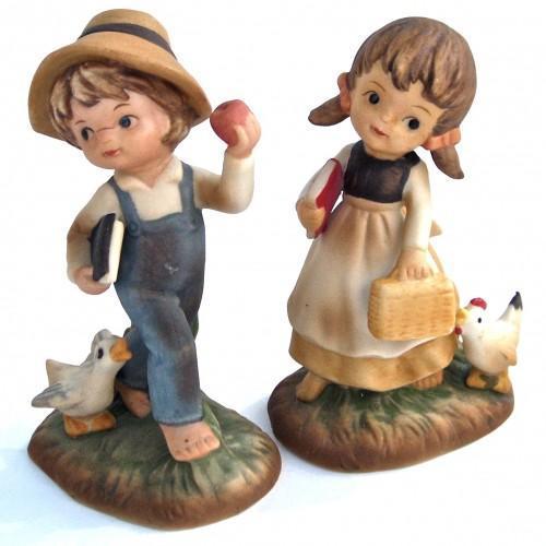Napco Figurine Set  - Country Girl and Boy - Vintage 60s