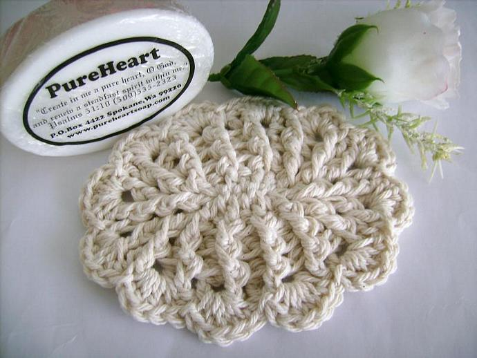 Crochet Soap Dish with Scallops in Off White, Pink Twist, White, or Green Twist