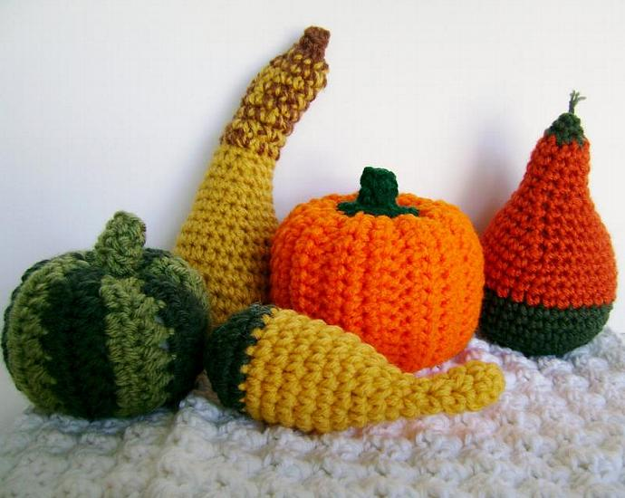 PICK TWO, Crocheted Squash, Gourds and Pumpkins for Autumn and Fall Decor