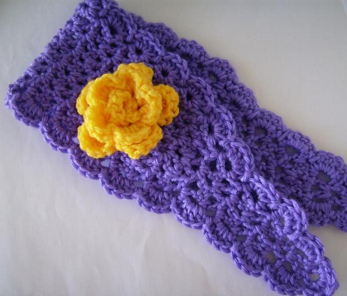 Hairband, Earwarmer in Purple and Gold