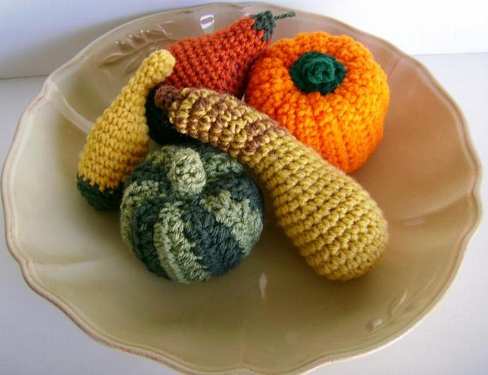 Crocheted Squash, Gourds and Pumpkins for Autumn and Fall Decor