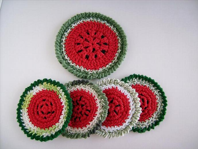 Quirky Crochet Watermelon Coaster Set