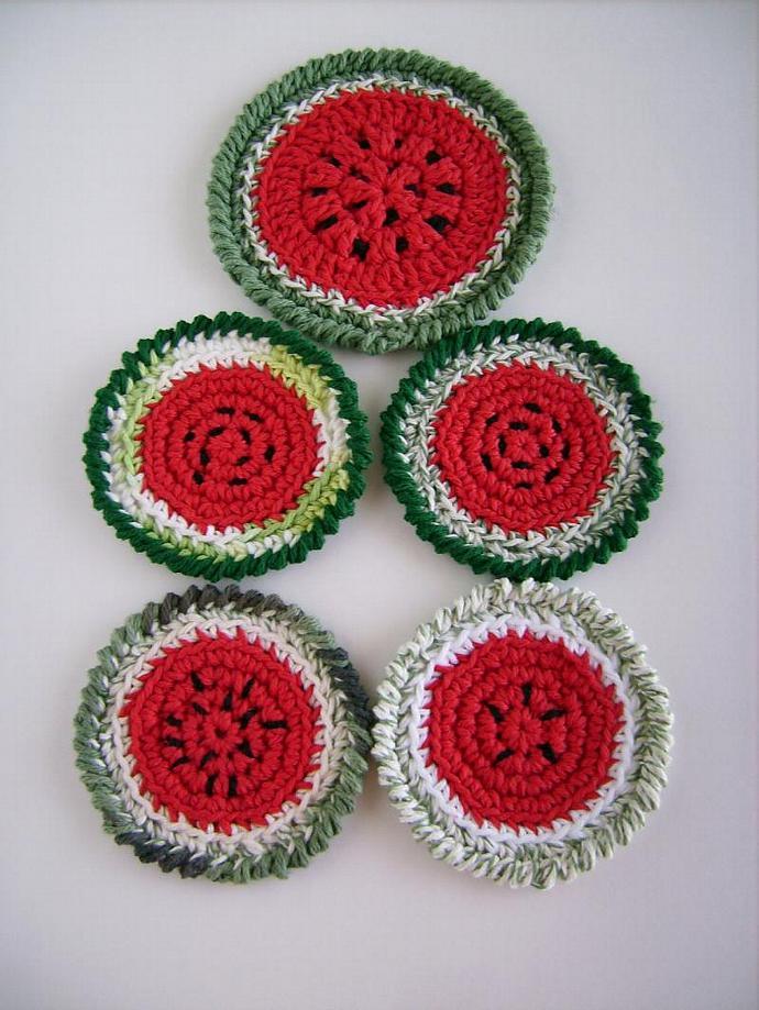 Quirky Crochet Watermelon Coaster Set