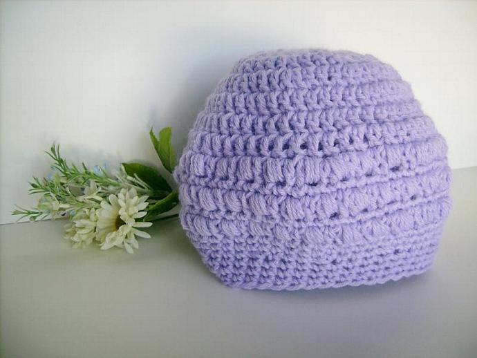 Lavender Crochet Slouchy Hat, Beret, Beanie
