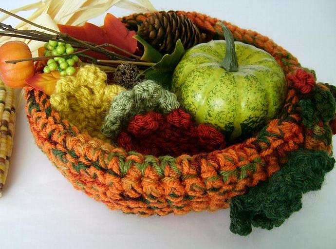 Autumn Harvest Orange Crochet  Bowl with Decor  Leaves