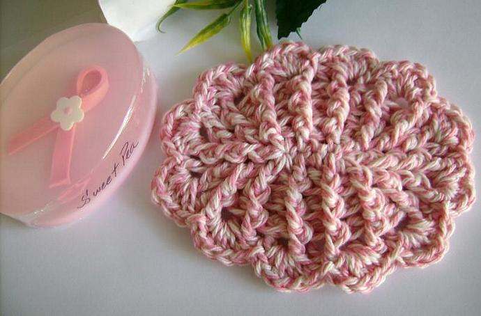 Pink and White Crochet Soap Dish with Scallops for Breast Cancer Awareness