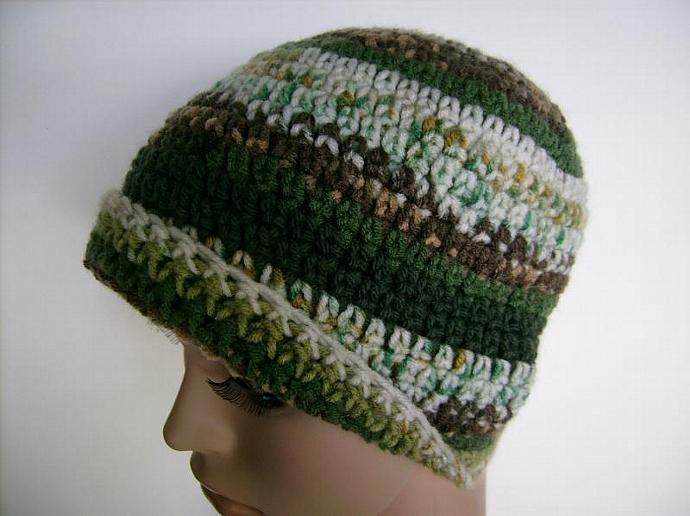 Green and Brown Crocheted Jacquard Print Beanie