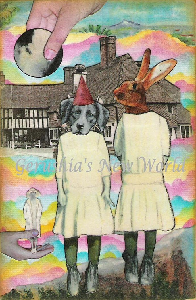 Eula's Party ~ Anthropomorphic Watercolor Collage Print