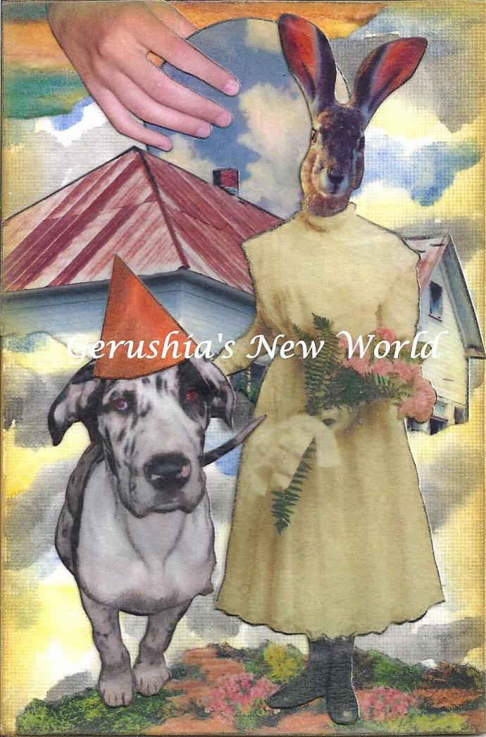 Delilah's New Day ~ Anthropomorphic Watercolor Collage Print