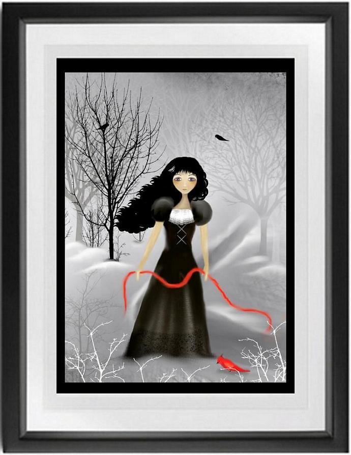 Melancholy Goth Girl Art Print  Woodland - Pale Grey - Winter --- Redbird --